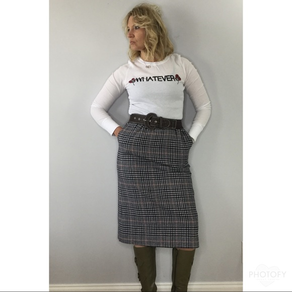 M Pencil Skirt Fully Lined Vintage Women/'s 80/'s White Wool Pink Houndstooth